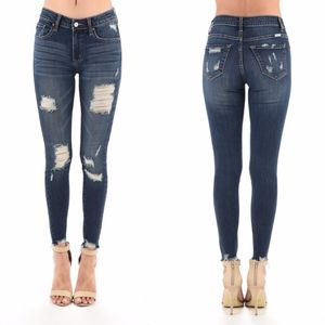Denim - SCHEANA Distressed Skinny Jeans